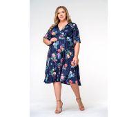 Платья по составу ткани 67% полиэстер, 30 % вискоза, 3% эластан больших размеров для полных женщин платье в цветочек больших размеров