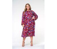Платья с принтом больших размеров для полных женщин Платье с юбкой миди больших размеров, принт бордо