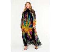 Платья из шифона больших размеров для полных женщин Платье с воротником стойка для полных, шифон абстракция яркая
