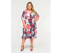 яркое платье с цветком для полных женщин