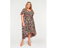Платья по составу ткани 67% полиэстер, 30 % вискоза, 3% эластан больших размеров для полных женщин платье в цветочный принт для полных