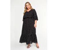 Пляжные платья больших размеров для полных женщин черное платье в горошек для полных