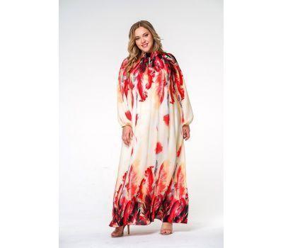 Красные вечерние платья больших размеров с воротником стойка, шифон принт перья