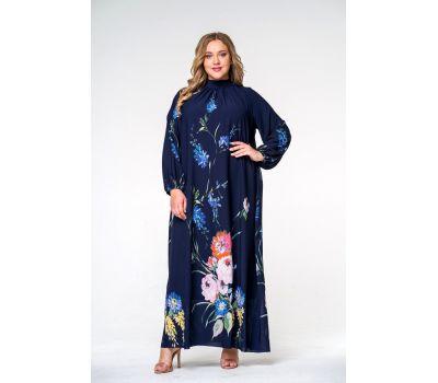 Cиние платья больших размеров купить с принтом