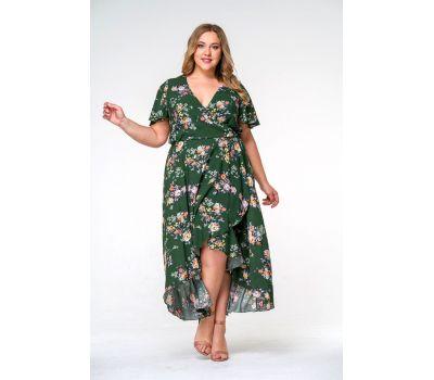 Летнее салатовые платья больших размеров купить из штапеля с широкой юбкой