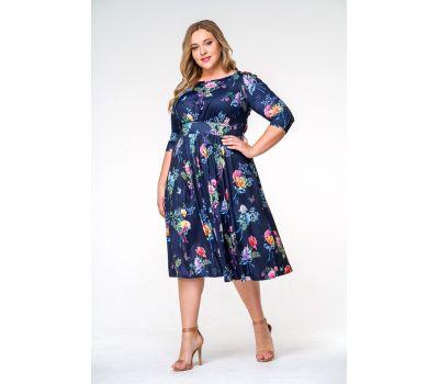 Синие платья больших размеров с фигурным втачным поясом и  принтом цена очень дешевая