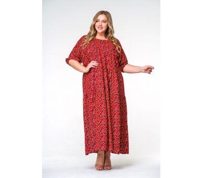 Красные платья больших размеров с принтом бабочки свободное из штапеля