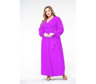 Фиолетовые платья больших размеров длинное однотонное с манжетами