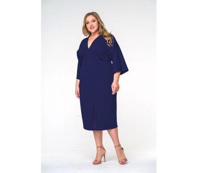 Синие вечерние платья больших размеров миди из крепа с разрезом
