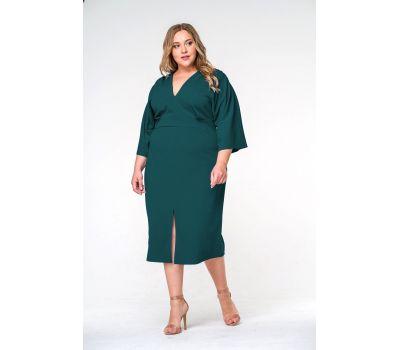 Cалатовые платья для полных (зеленое) миди из крепа с разрезом