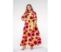 Платье длинное из крепа для полных, принт желтый