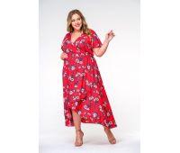 Платье летнее из штапеля больших размеров с широкой юбкой, принт красный