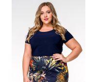 Летние блузки больших размеров для полных женщин летняя блузка с коротким рукавом для полных женщин синего цвета