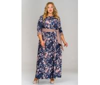 Платье длинное из крепа для полных, принт цветы