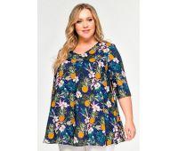 """Платья летние туники больших размеров туника с разрезами для полных,штапель принт """"синий ананас"""""""