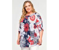 Платья летние туники больших размеров нарядные блузки и туники больших размеров принт цветы