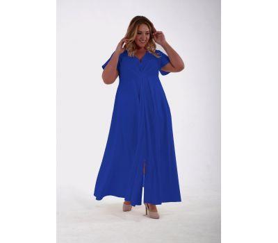 Купить платья больших размеров вечернее длинное с разрезом из крепа василькового цвета