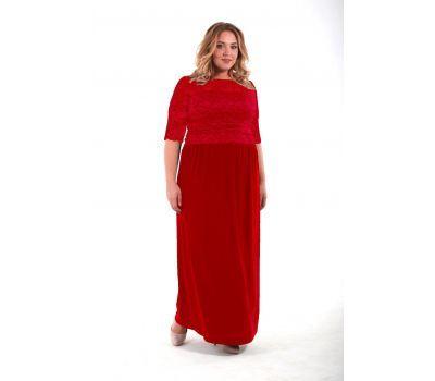 красное повседневное платье на полных
