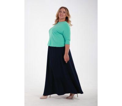 Юбка длинная из крепа с карманами темно-синего цвета