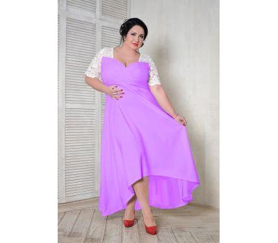 Купить платья больших размеров 52, 54, 56, 58, 60, 62, 64, 66, 68, 70, 72, 72 вечернее с кружевной кокеткой фиолетового цвета с белым кружевом