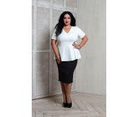 Летние блузки больших размеров для полных женщин блуза с баской больших размеров белая