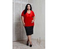 Летние блузки больших размеров для полных женщин блуза с кружевом больших размеров красная