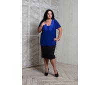 Летние блузки больших размеров для полных женщин блуза с кружевом больших размеров васильковая