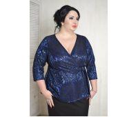 Летние блузки больших размеров для полных женщин блуза с запахом из кружева василькового цвета