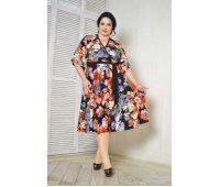 Платья с рукавом 1/2 больших размеров для полных женщин платье с цветочным принтом для полных женщин