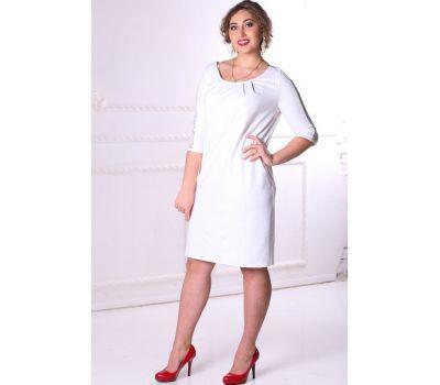 Купить платья больших размеров 52, 54, 56, 58, 60, 62, 64, 66, 68, 70, 72, 74 прямое с кружевной вставкой на рукавах белое