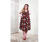 трикотажные платья для полных с цветочным принтом