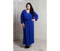 синее платье с длинным рукавом для полных