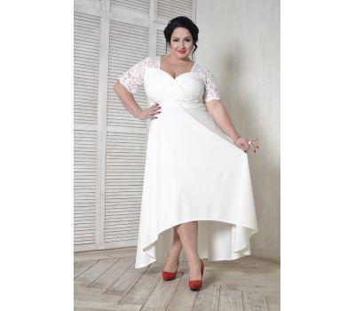 Купить платья больших размеров 52, 54, 56, 58, 60, 62, 64, 66, 68, 70, 72, 72 вечернее с кружевной кокеткой белого цвета