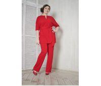 Бриджи больших размеров для полных женщин брюки прямые для полных из крепа красные