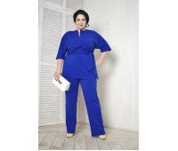 Бриджи больших размеров для полных женщин брюки прямые для полных из крепа васильковые